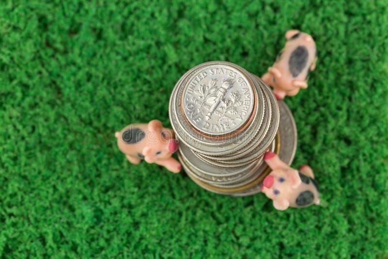 Bunt av USA-mynt, amerikanska pengar med suddigt klättra för 3 svin, arkivbilder