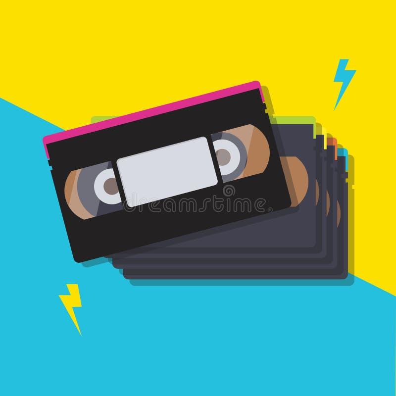 Bunt av videokassettband vektor illustrationer