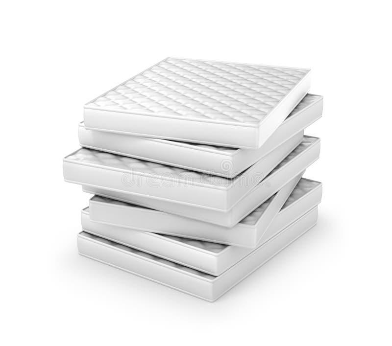 Bunt av vita madrasser vektor illustrationer
