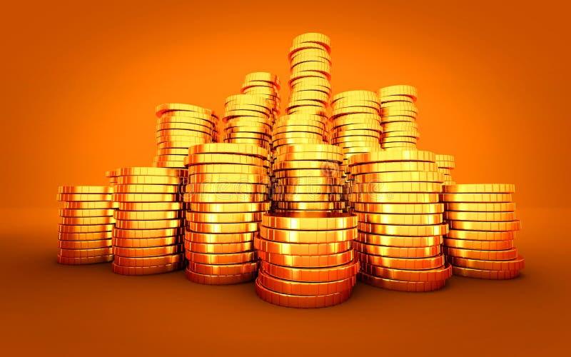 Bunt för guld- mynt på orange bakgrund stock illustrationer