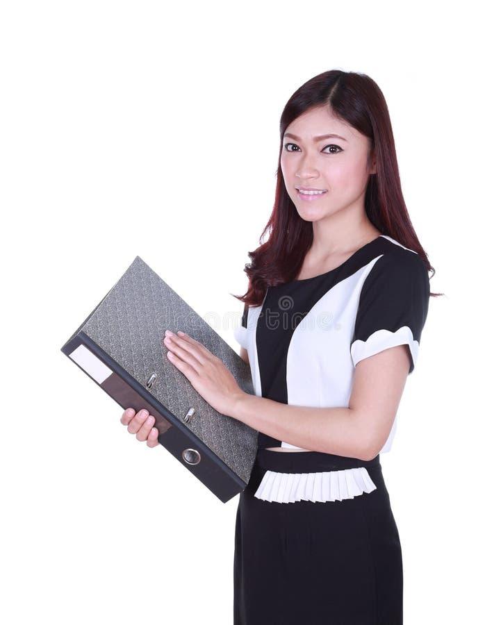 Bunt för innehav för affärskvinna av mappdokument royaltyfri foto