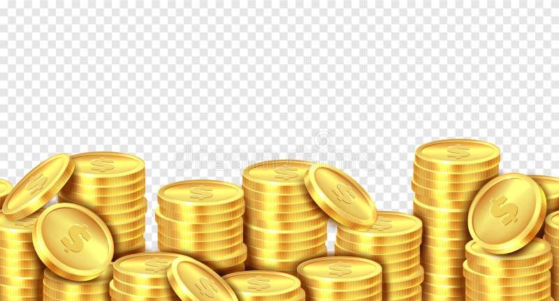 Bunt f?r guld- mynt Den realistiska guld- myntpengarhögen, staplade dollarlotter traver inkomst för marknad för kasino för vinste stock illustrationer