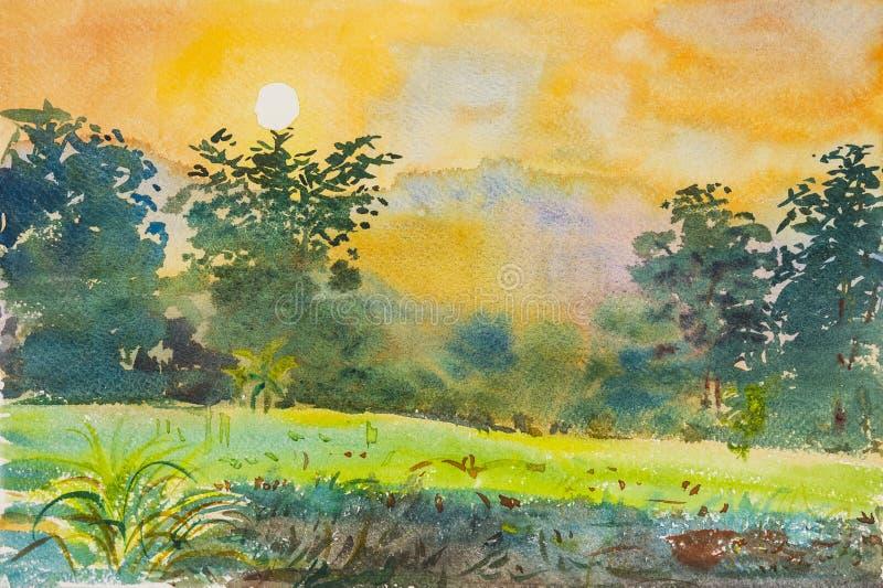 Bunt malen vom Sonnenuntergang und vom Gefühl im Gebirgshintergrund stock abbildung