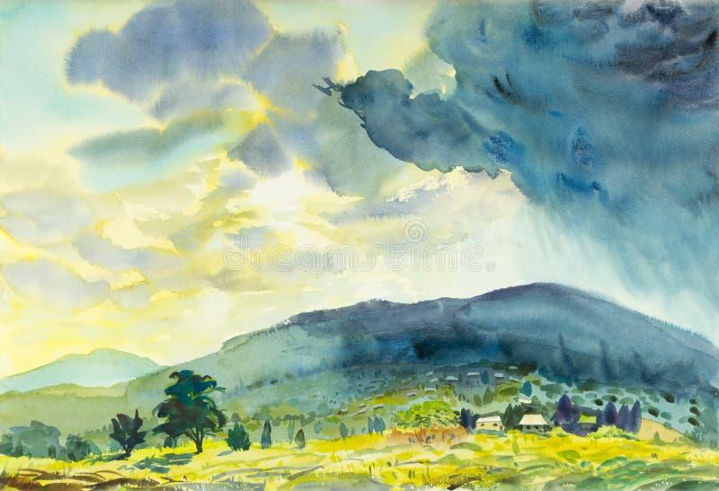 Bunt malen vom sonnigen Regen und vom Gefühl im blauen Berg stock abbildung