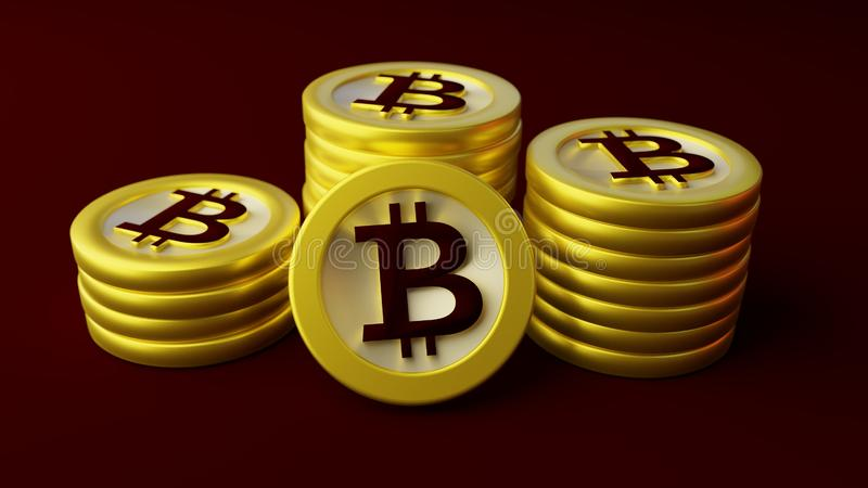 Buntar av bitcoins royaltyfria bilder