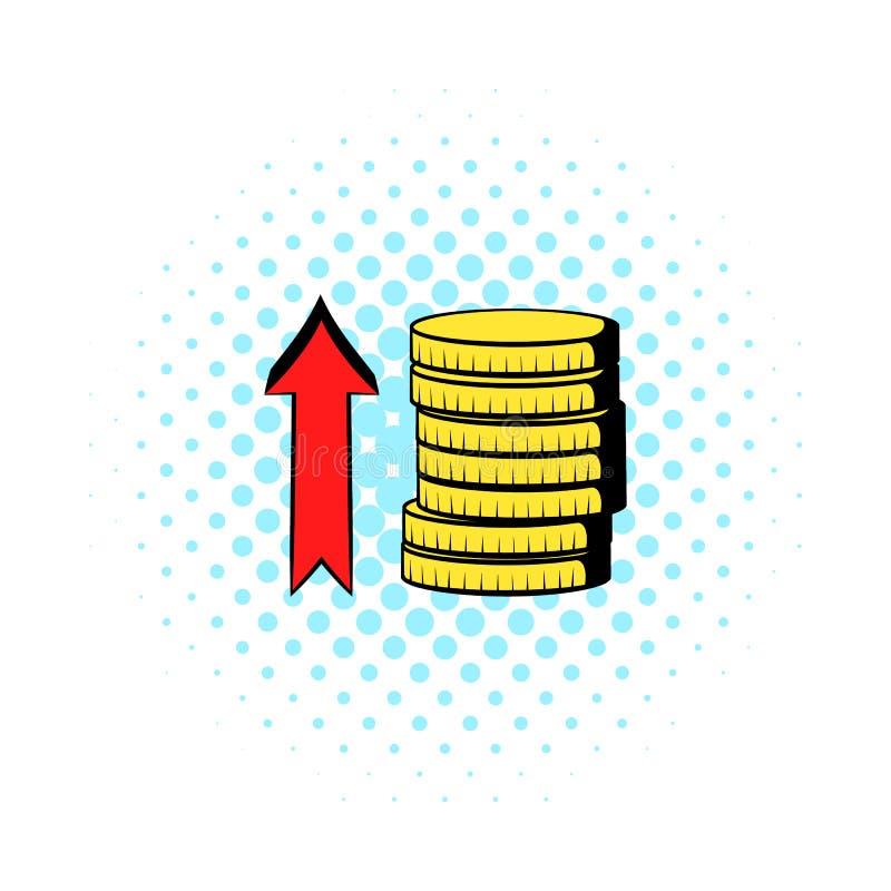 Buntar av mynt med den röda pilsymbolen, komiker utformar royaltyfri illustrationer