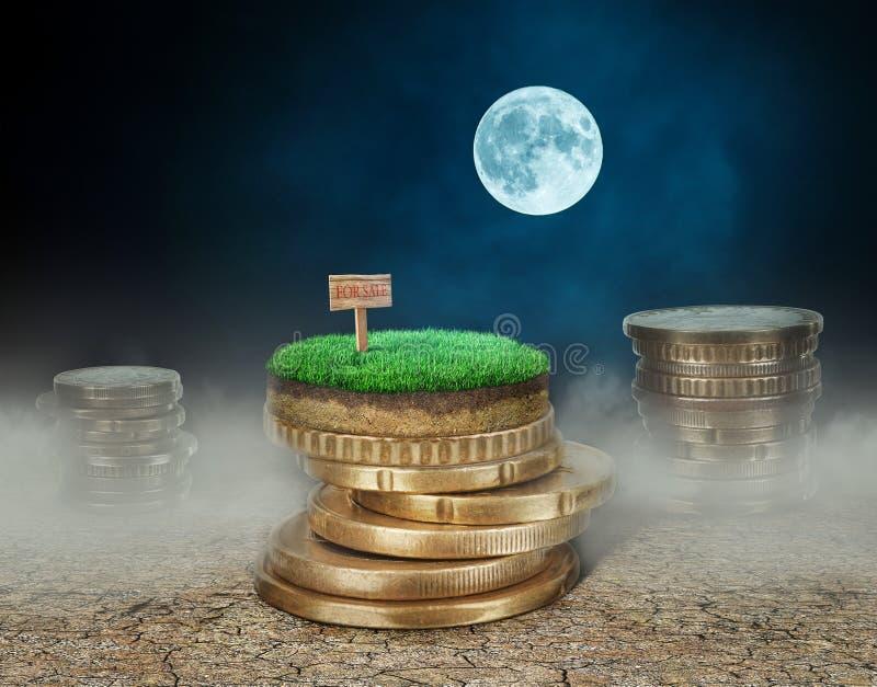 Buntar av mynt med land på sprucken jord på nattbackgrouen vektor illustrationer