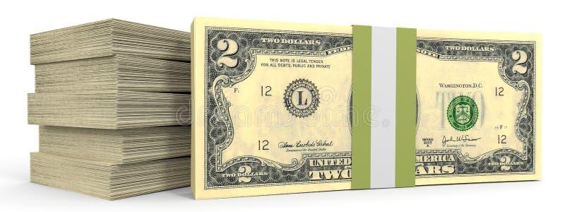 Buntar av pengar dollar två vektor illustrationer