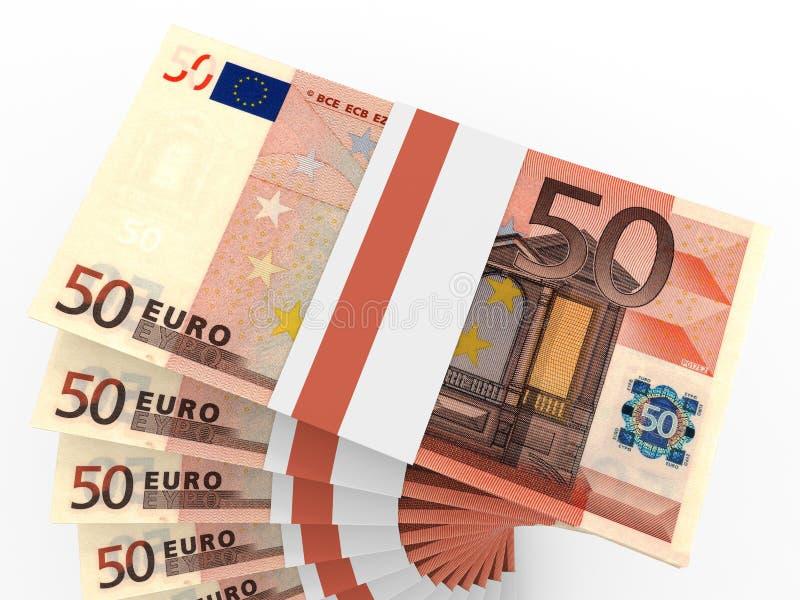 Buntar av pengar euros femtio vektor illustrationer