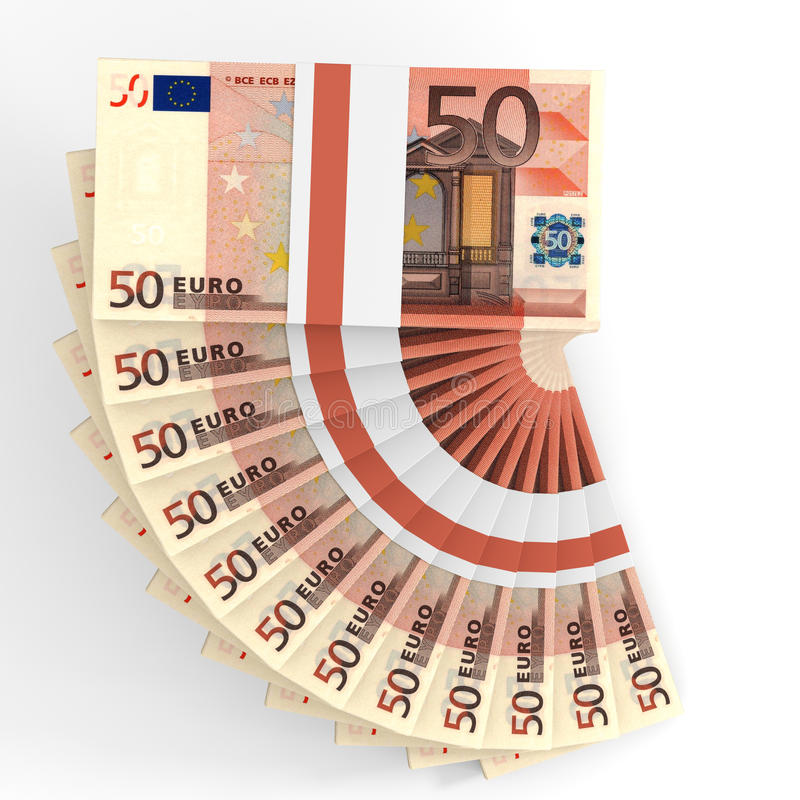 Buntar av pengar euros femtio stock illustrationer