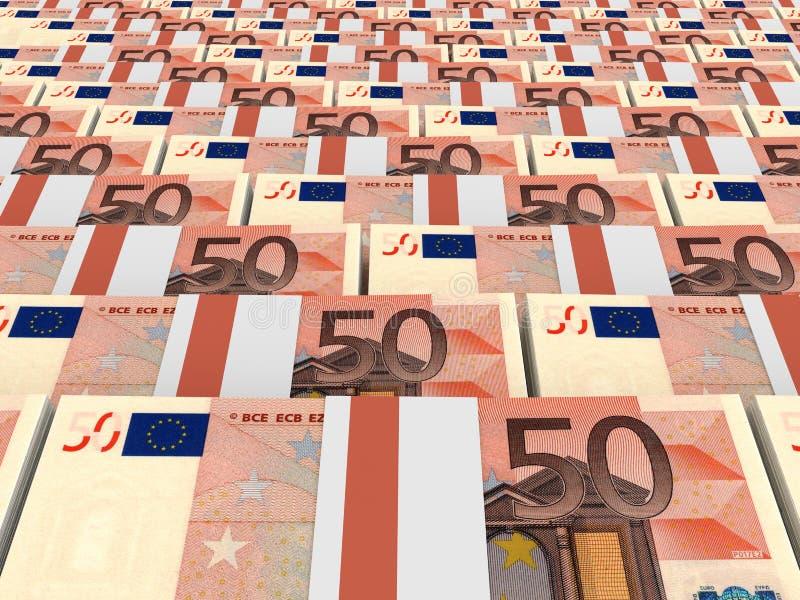 Buntar av pengar euros femtio royaltyfri illustrationer