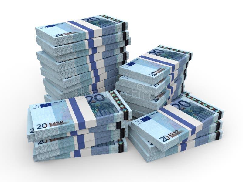 Buntar av pengar Tjugo euros vektor illustrationer