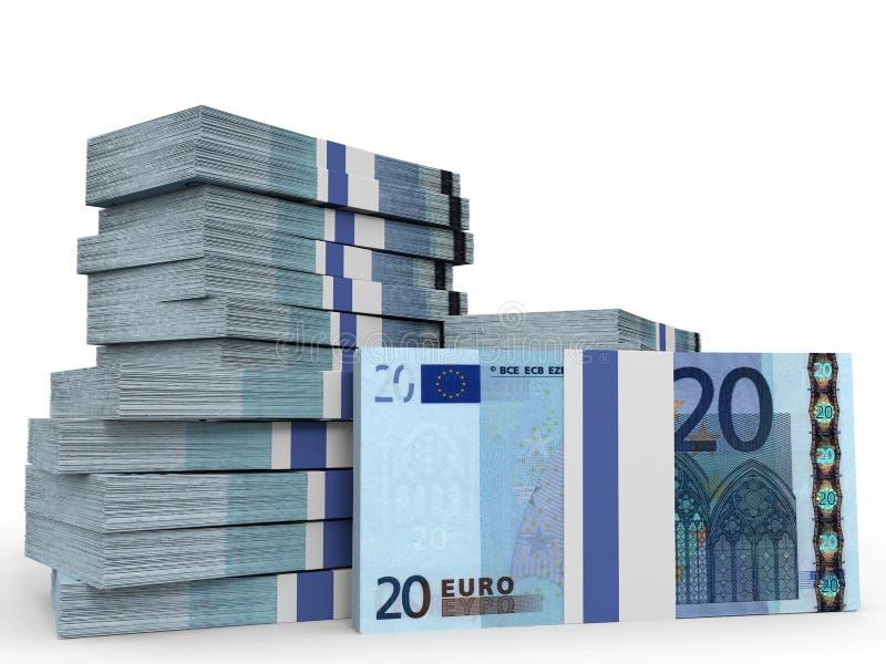 Buntar av pengar Tjugo euros stock illustrationer