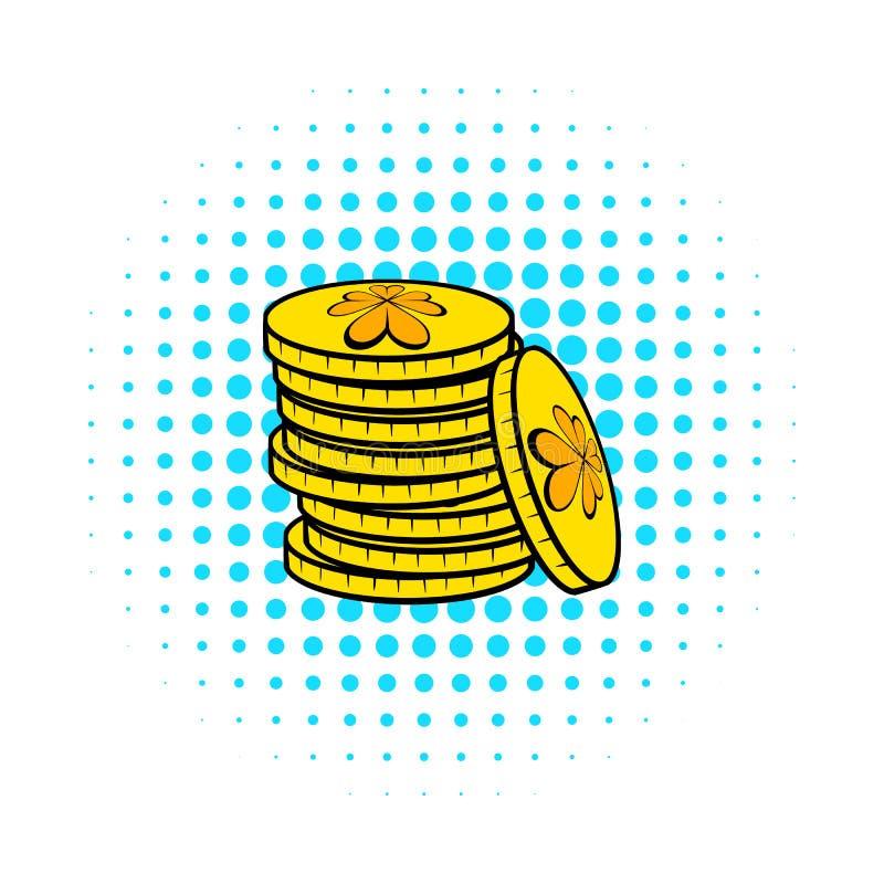 Buntar av symbolen för guld- mynt, komiker utformar royaltyfri illustrationer