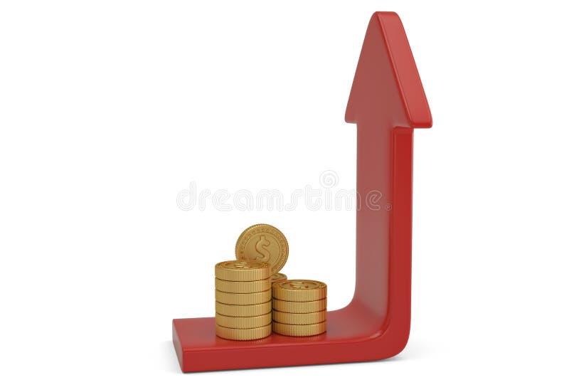 Buntar för guld- mynt med den övre pilen illustration 3d stock illustrationer