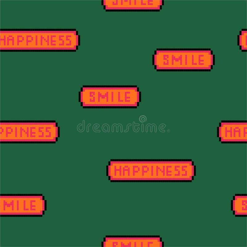 """Bunte """"Glück- und Lächeln"""" Benennung in gebissenem Guss des Pixelvideospiels 8 nahtloses Muster der Retrostil Vektor-Illustration stock abbildung"""