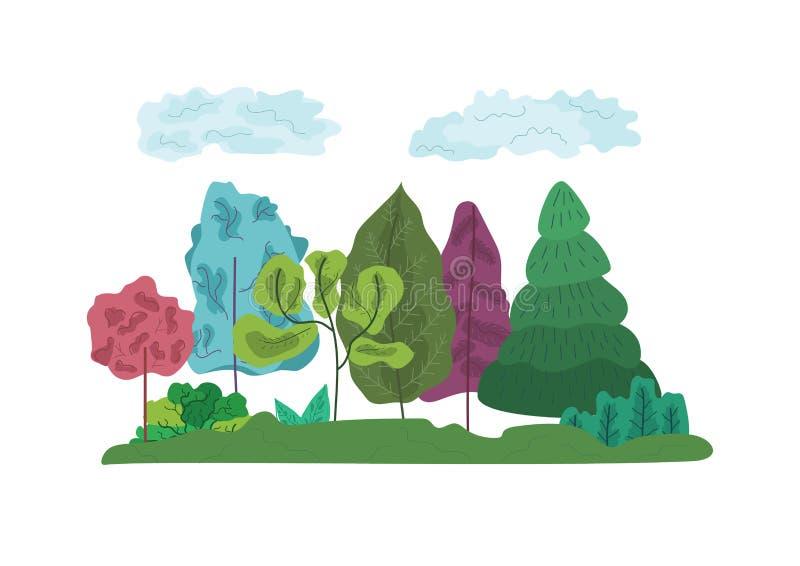 Bunte abstrakte Bäume und Graszusammensetzung stock abbildung