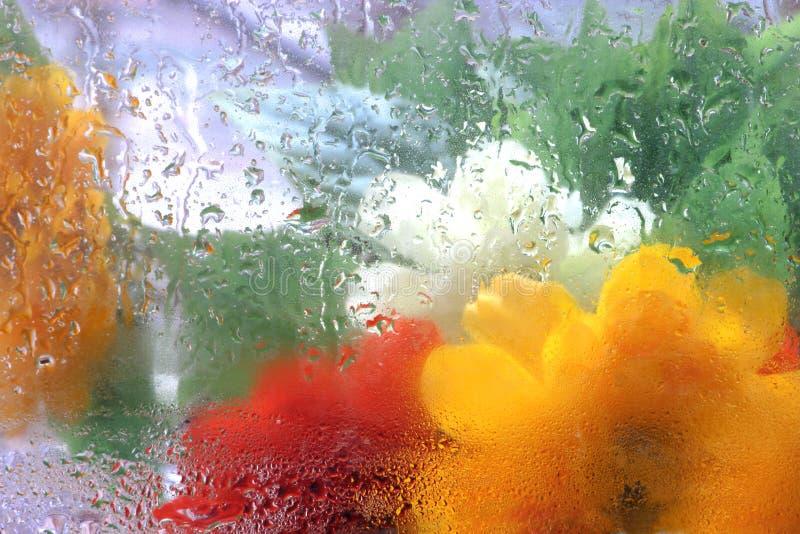 Bunte abstrakte Eindrücke. Uplifiting regnerische mit Blumenbeschaffenheiten. stockfoto