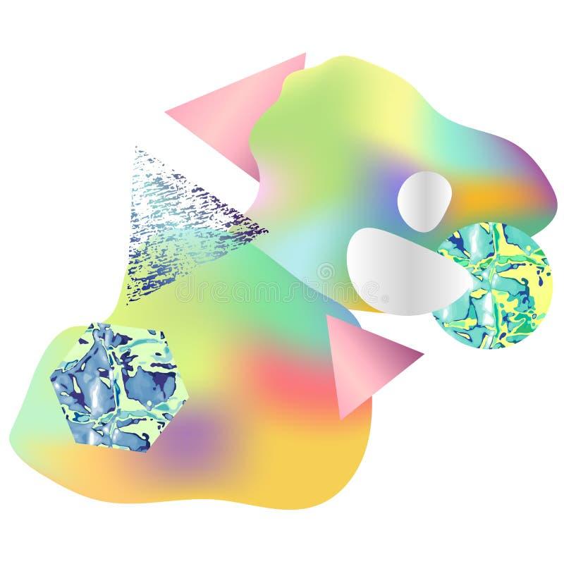 Bunte abstrakte geometrische Karte mit ganz eigenhändig geschrieber Flüssigkeit, geometrische Zusammensetzung - Kreis, Dreieck, H vektor abbildung