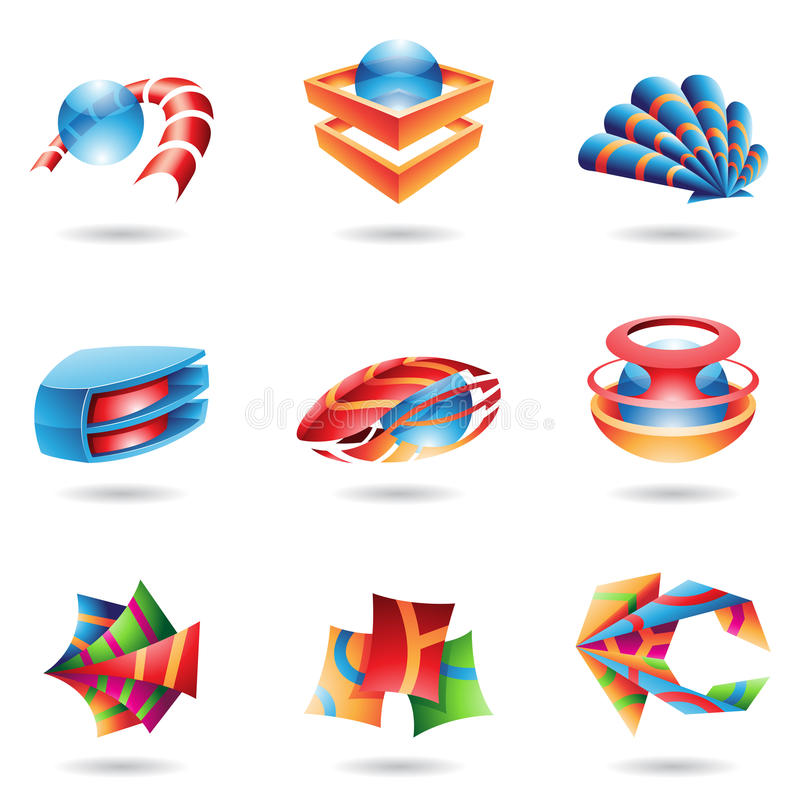 Bunte abstrakte Ikonen 3D vektor abbildung