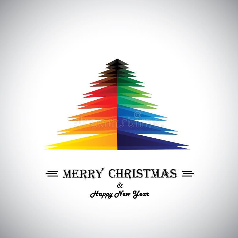 Bunte abstrakte Karte der frohen Weihnachten u. Weihnachtsbaum stock abbildung