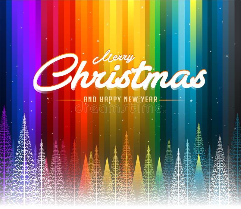 Bunte abstrakte Linie Regenbogenhintergrund der frohen Weihnachten stock abbildung