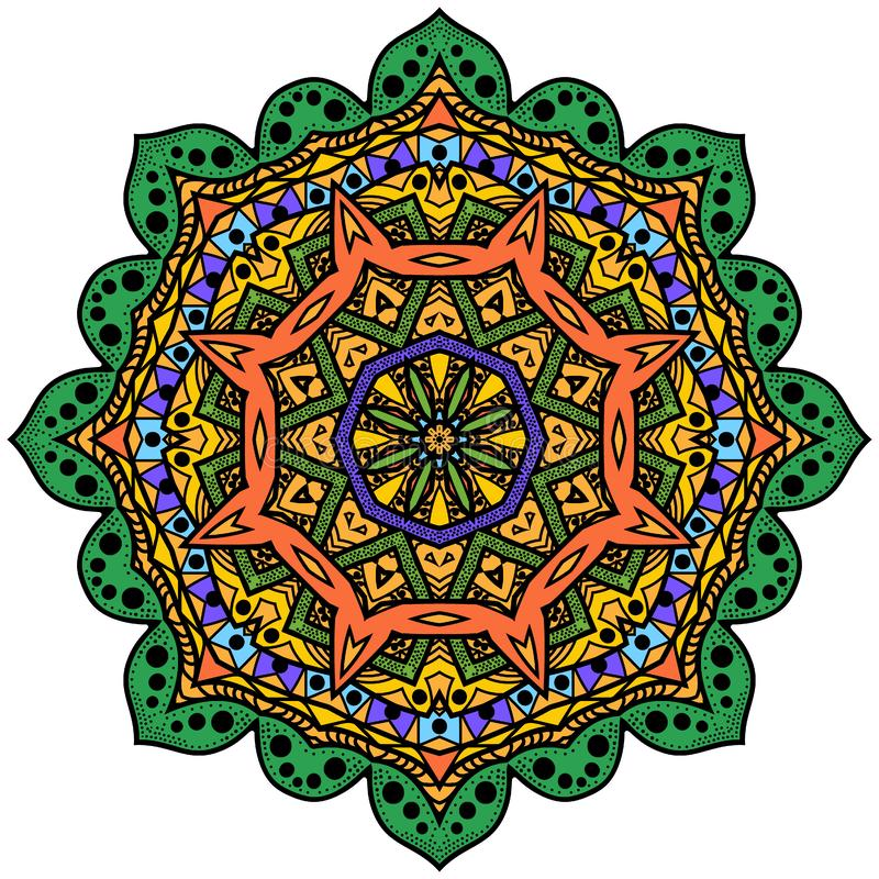 Bunte achteckige Mandala Colorized-Grafikrosette Das symme vektor abbildung