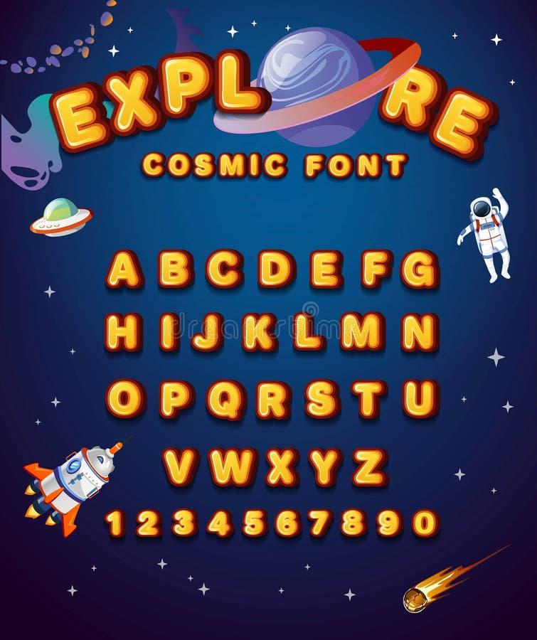 Bunte Alphabetart mit Raumelementen Gelbe Gussart des Raumes mit Planeten, Astronauten, Sternen und Raumschiff Nettes Alphabet lizenzfreie abbildung