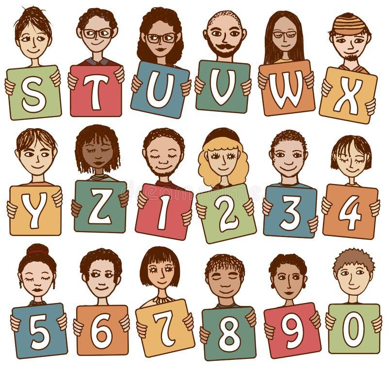 Bunte Alphabetbuchstaben S - Z und Zahlen lizenzfreie abbildung