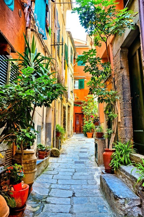 Bunte alte Straße im Cinque Terre-Dorf von Vernazza, Italien stockfoto