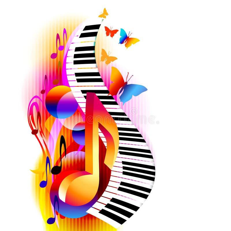 Bunte Anmerkungen der Musik 3d mit Klaviertastatur und -schmetterling vektor abbildung