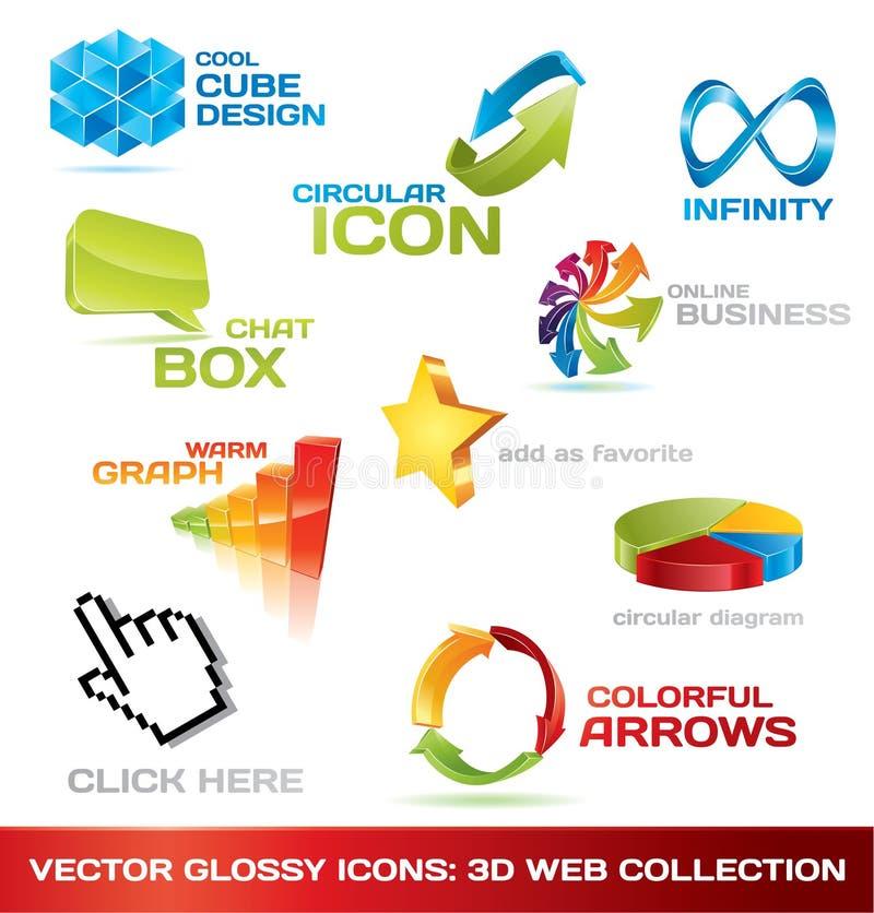 Bunte Ansammlung Ikonen des Webs 3d stock abbildung
