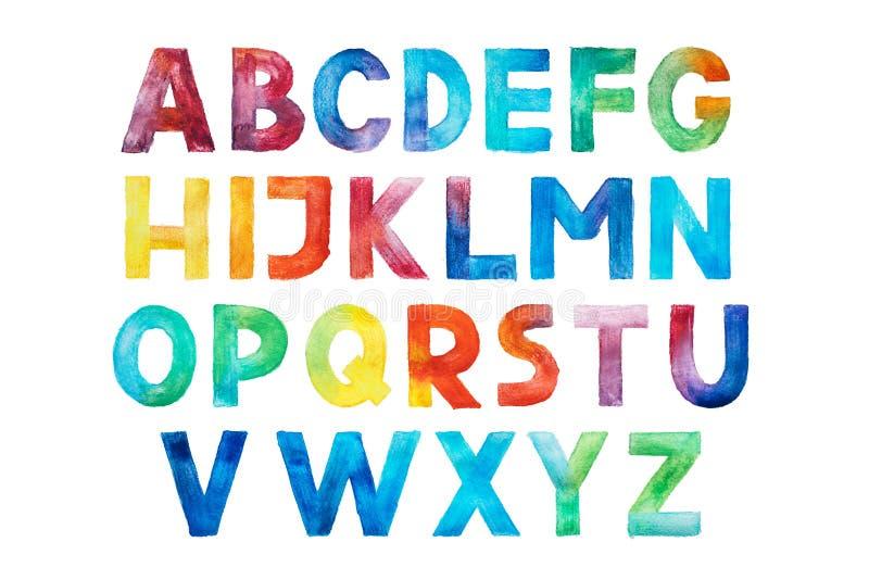 Bunte Aquarellaquarell-Gussart handgeschriebene ABC-Alphabetbuchstaben des Handabgehobenen betrages vektor abbildung