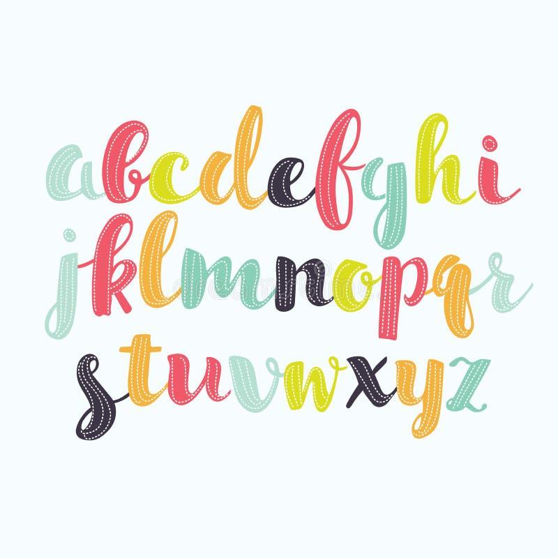 Bunte Aquarellaquarell-Gussart handgeschriebene Gekritzel-ABC-Alphabetbuchstaben des Handabgehobenen betrages lizenzfreie abbildung