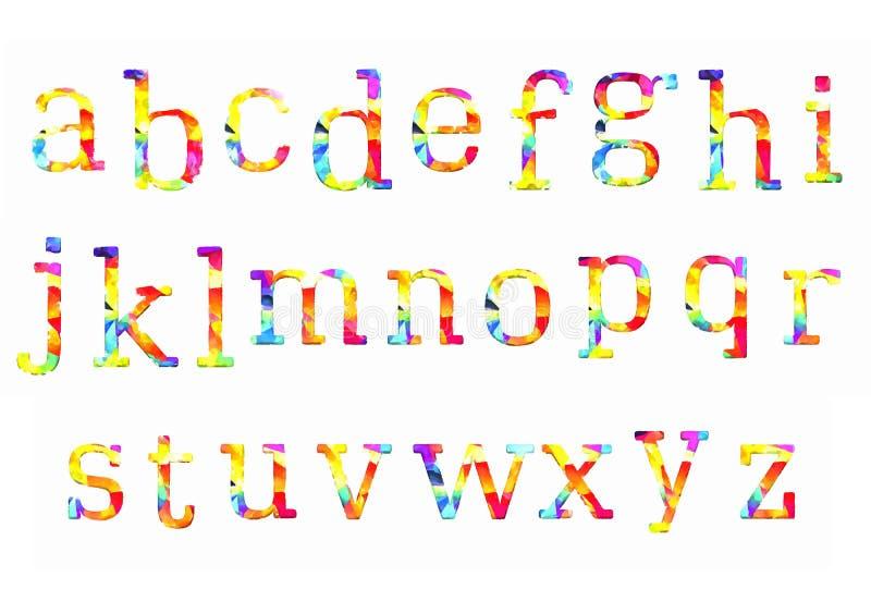 Bunte Aquarellaquarell-Gussart handgeschriebene Gekritzel-ABC-Alphabetbuchstaben des Handabgehobenen betrages vektor abbildung