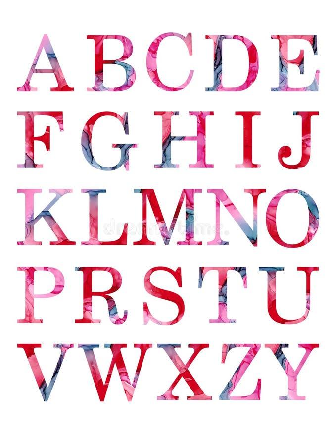 Bunte Aquarellaquarell imk Gussart handgeschriebene Gekritzel-ABC-Alphabetbuchstaben des Handabgehobenen betrages stock abbildung