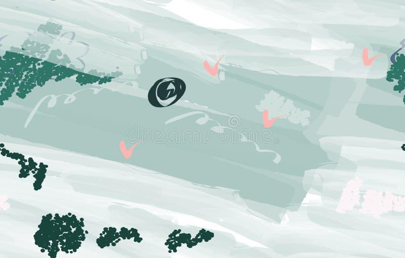 Bunte Aquarellbürstenanschläge mit abstrakten Vögeln stock abbildung