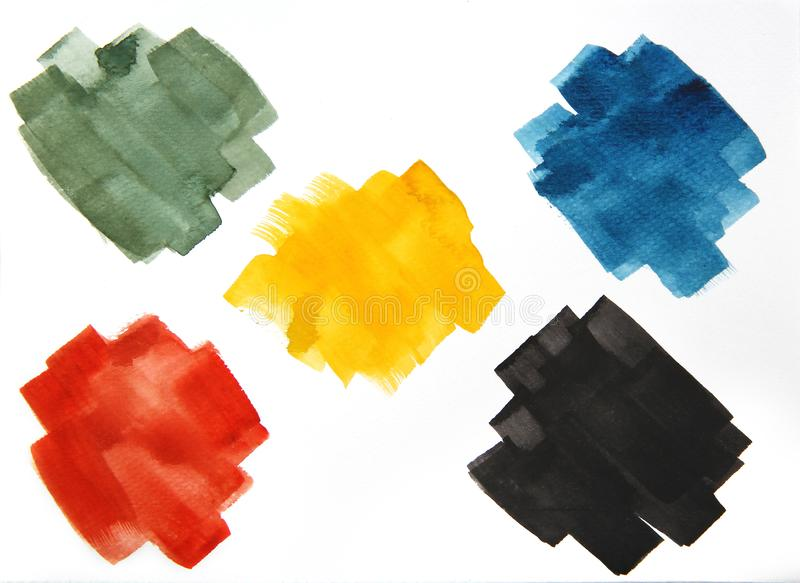 Bunte Aquarellbürstenschlagmänner, abstrakte Pinselschlagmänner, Satz bunte der lokalisierten Illustration des Aquarells Fleck lizenzfreie abbildung