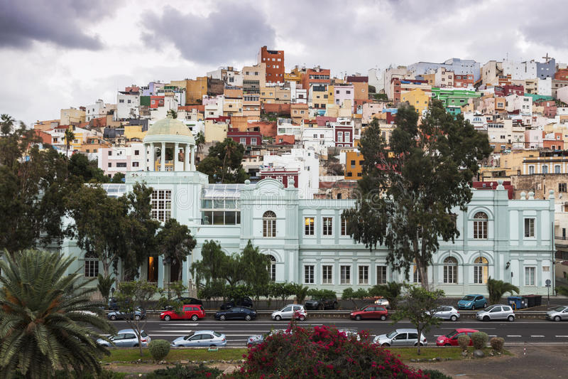 Bunte Architektur von Barrio San Juan im Las Palmas lizenzfreies stockfoto