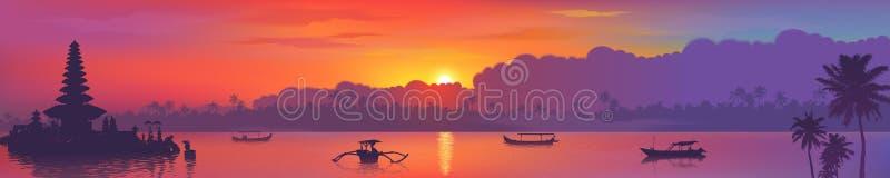 Bunte asiatische Sonnenuntergang Balinesemarksteine Panoramablick, Vektorillustration des Bali-Wassertempels, Palmen und stock abbildung