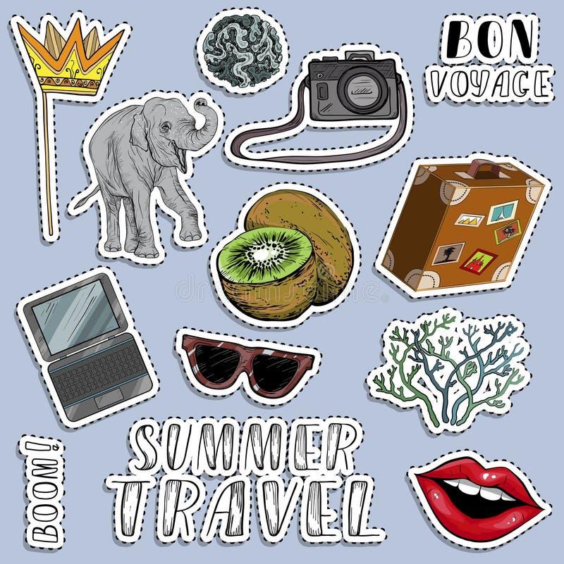 Bunte Aufkleber eingestellt Reisendes Konzept des Sommers Sommerberufung vektor abbildung
