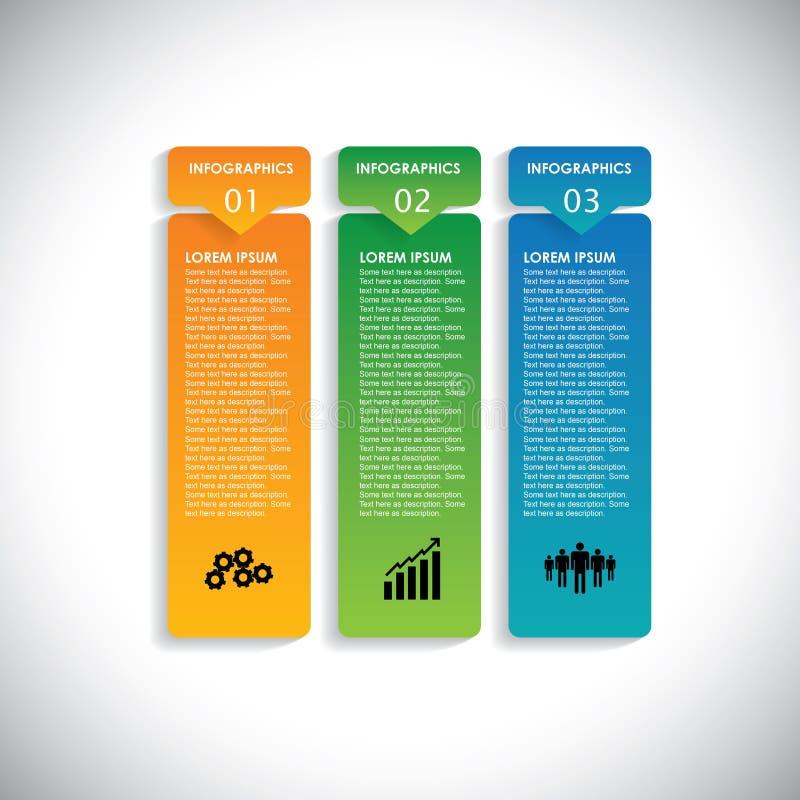 Bunte Aufkleber mit Reihenfolge von Schritten - vector infographic stock abbildung
