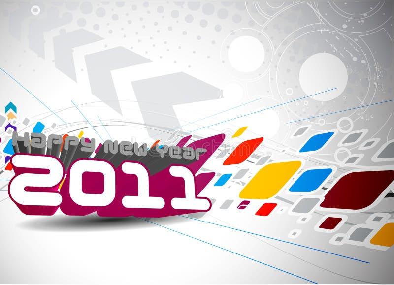 Bunte Auslegung des neuen Jahres 2011 vektor abbildung
