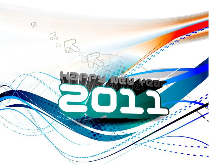 Bunte Auslegung des neuen Jahres 2011 lizenzfreie abbildung