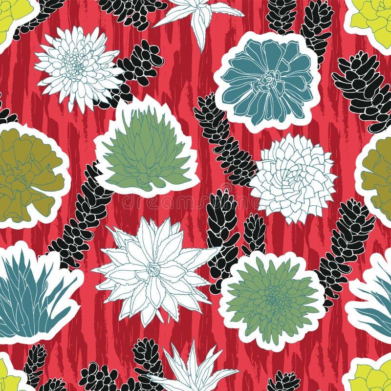 Bunte Ausschnittformen von saftigen Anlagen in einer Aufkleber ähnlichen Art überlagert auf einen roten Zebrabürsten-Anschlaghint lizenzfreie abbildung