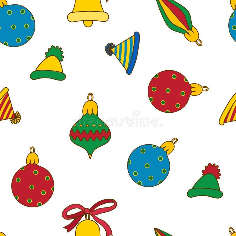 Bunte Bälle des neuen Jahres, Hüte, Glocken auf einem weißen backround Nettes nahtloses Muster lizenzfreie abbildung