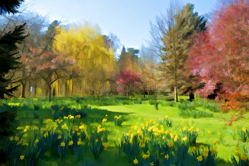 Bunte Bäume in der Landschaft stockfotos