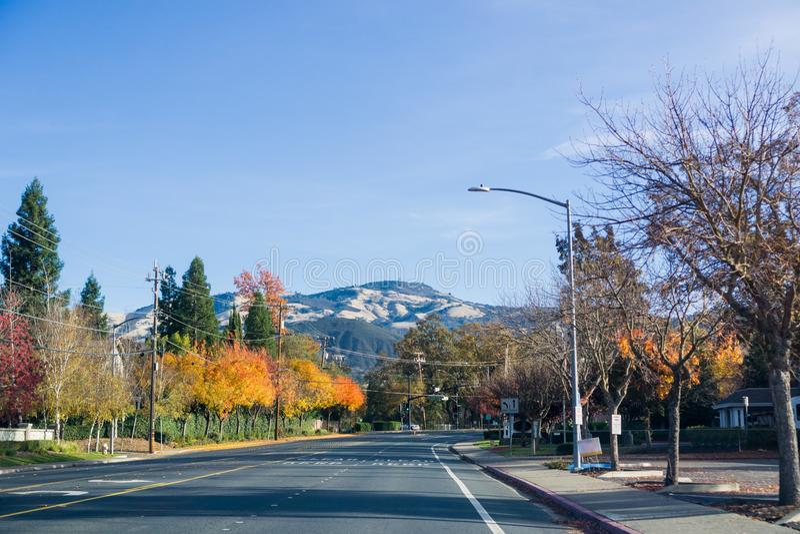 Bunte Bäume, die eine Straße durch Danville, Gipfel Mt Diablo im Hintergrund ausrichten lizenzfreies stockbild