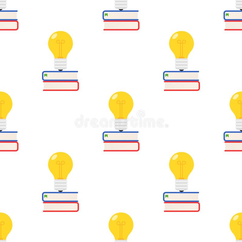 Bunte Bücher und Glühlampe nahtlos lizenzfreie abbildung