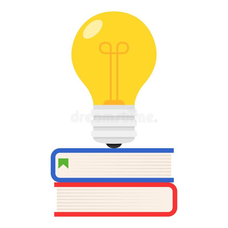 Bunte Bücher und Ideen-Glühlampe-flache Ikone lizenzfreie abbildung
